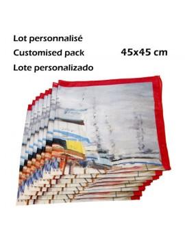 Lote 6 pañuelos de cuello personalizados en seda 45x45 cm