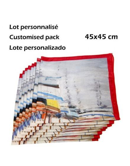 Lot 6 carrés tour de cou personnalisés en soie