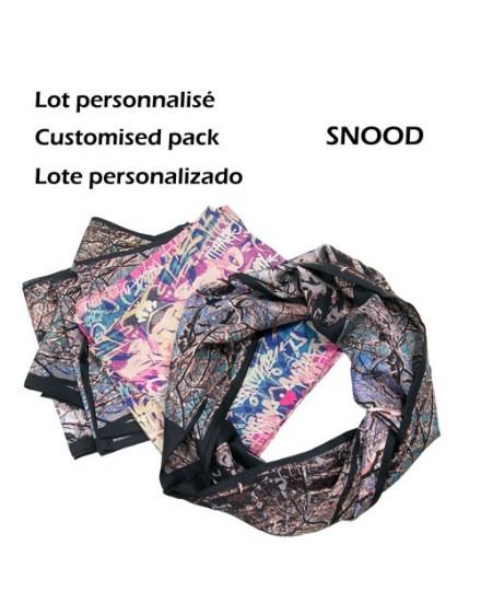 Colección de 9 fulares circulares de seda personalizados 22x180cm
