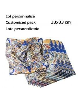 Pack of 12 custom printed silk pocket handkerchieves