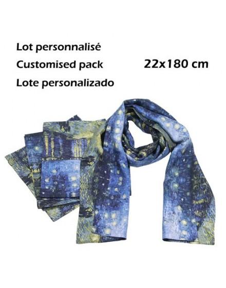 Pack 6 custom printed men silk scarves