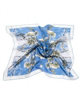 Blue woman silk scarf - Cherry tree in bloom 68x68cm