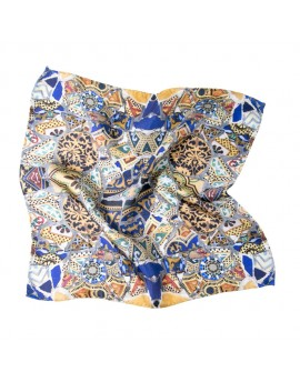 Silk man pocket handkerchief - Gaudi Mosaic