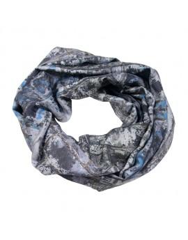 Snood en soie gris imprimé Lichen