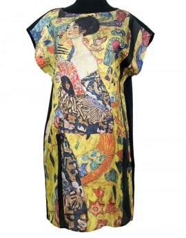 Robe en soie Klimt - Dame avec un éventail