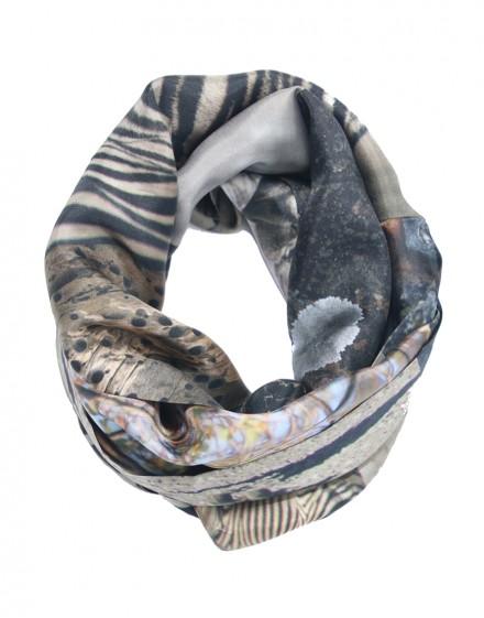 Silk infinity scarf African Zebra