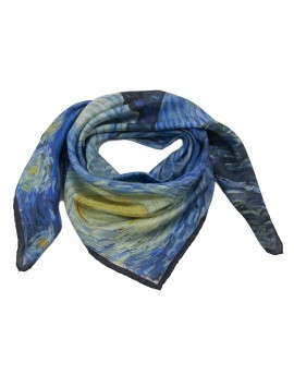 "Square silk scarf Van Gogh - Starry night - 90x90 cm (36x36"")"