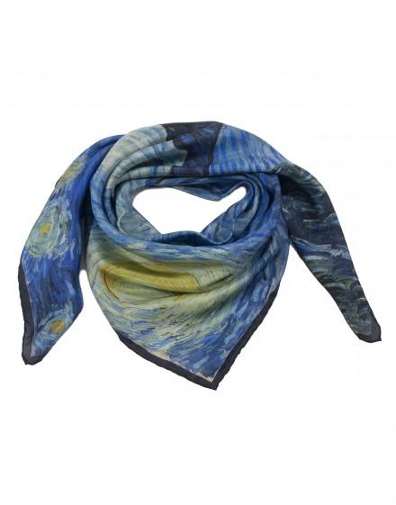 Foulard femme en soie Van Gogh - La nuit étoilée - 90x90