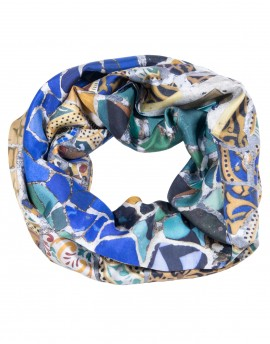 Pañuelo de seda circular Gaudí - Banco del Parque Güell