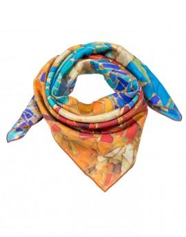 Foulard en soie Gaudi Mosaique orange-turquoise