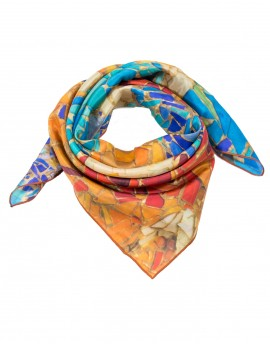 Gaudi silk scarf Mosaic orange-turquoise