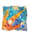 carré en soie Gaudi mosaique  orange turquoise