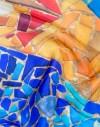 Foulard en soie Gaudi mosaique  orange turquoise