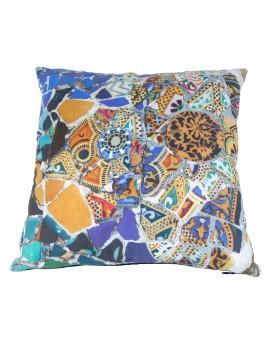 Coussin en lin Gaudi Mosaique banc 40x40