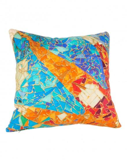 Coussin en lin imprimé Gaudi mosaique 40x40
