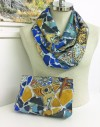 Silk scarf and clutch Gaudi guell park bench