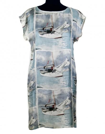 Silk dress Florida sailboats