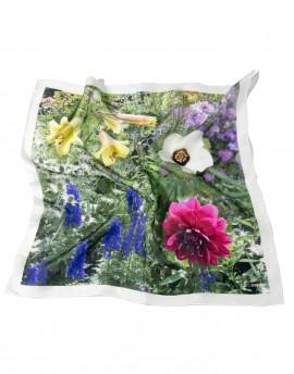 Foulard en soie tour de cou imprimé floral multicolore Powis Garden