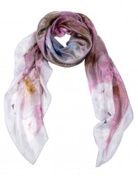 Carré en soie romantique fleuri rose 120x120 cm