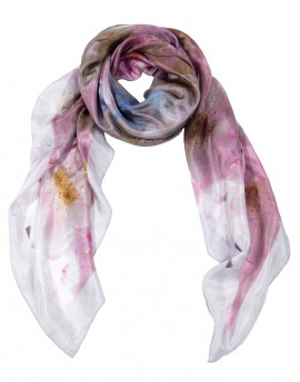 "Romantic pink floral silk scarf 120x120 cm (47x47"")"