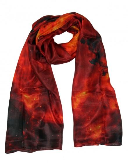Large silk scarf red Nebula