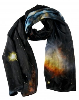 Large silk scarf blue nebula
