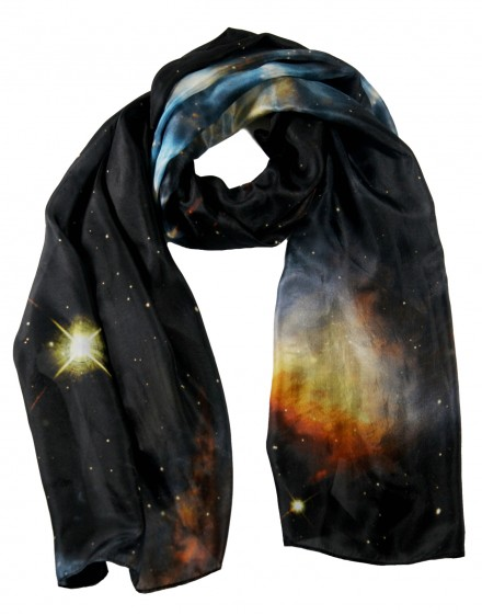 Large silk scarf blue nebula