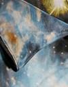 Large silk gauze scarf blue nebula
