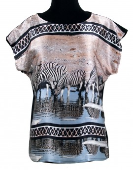 Silk blouse - Etosha Zebras