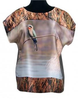 Blouse en soie Okavango oiseau