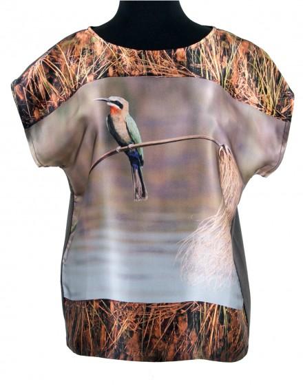 Silk blouse Okavango bird