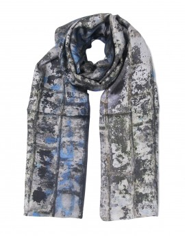 Men silk scarf grey Lichen