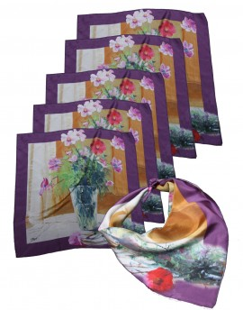 "Pack 6 custom printed silk scarves 68x68 cm (27""x27"")"