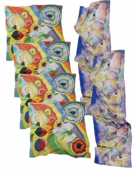 "Pack of 6 bespoke silk scarves - 4 squares 90x90 cm (36x36"") and 2 long scarves  45x180"