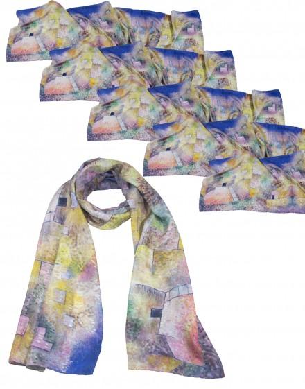 Lot de 6 grands foulards en soie personnalisés 45x180 cm