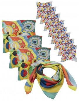 Lot 12 foulards en soie personnalisés - 4 carrés 90x90 et 8 carrés 45x45