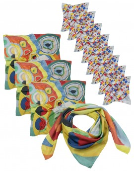 "Pack 12 bespoke silk scarves: 4 squares 90x90 cm (36x36"") and 8 squares 45x45cm"