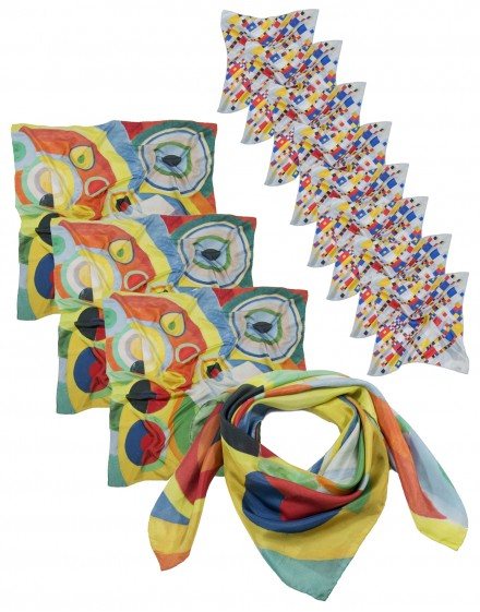 Lote 2 pañuelos 90x90 y 1 fular 45x180 de seda impresos a medida