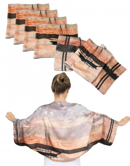 Pack 6 custom printed silk bolero scarves