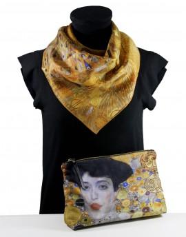 Lot foulard et pochette soie Klimt Adèle Bloch-Bauer