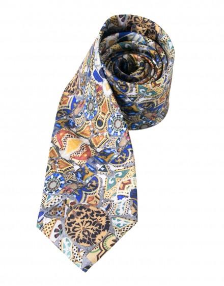 Pañuelo de bolsillo de seda - Gaudí Mosaico Banco
