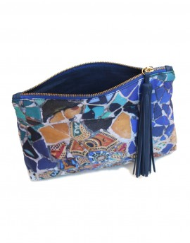 Silk clutch Gaudi Güell Park blue mosaic