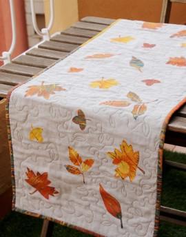Kit de patchwork chemin de table en lin Feuilles d'automne 45x140 cm