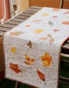 Ki de patchwok Camino de mesa de lino Hojas de otoño