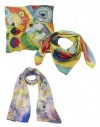 3 large custom printed silk scarves