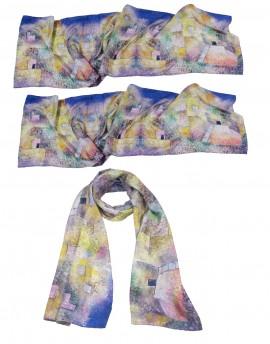 Lot 3 grands foulards en soie personnalisés 45x180cm