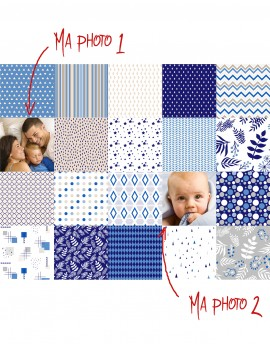 Custom Charm pack fabric, blue beige