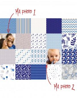 Tissu patchwork Charm Pack personnalisé de vos photos - bleu beige