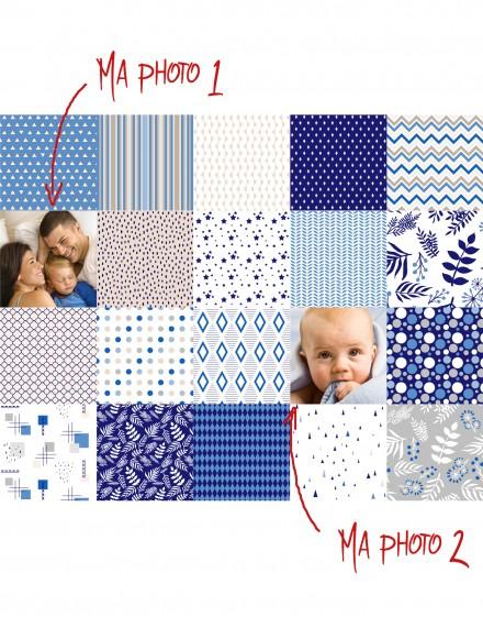 Sus fotos impresas en tela de algodón - Panel de 12 fotos de 12x12 cm