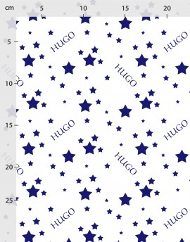 Custom name fabric blue stars on white organic cotton or linen